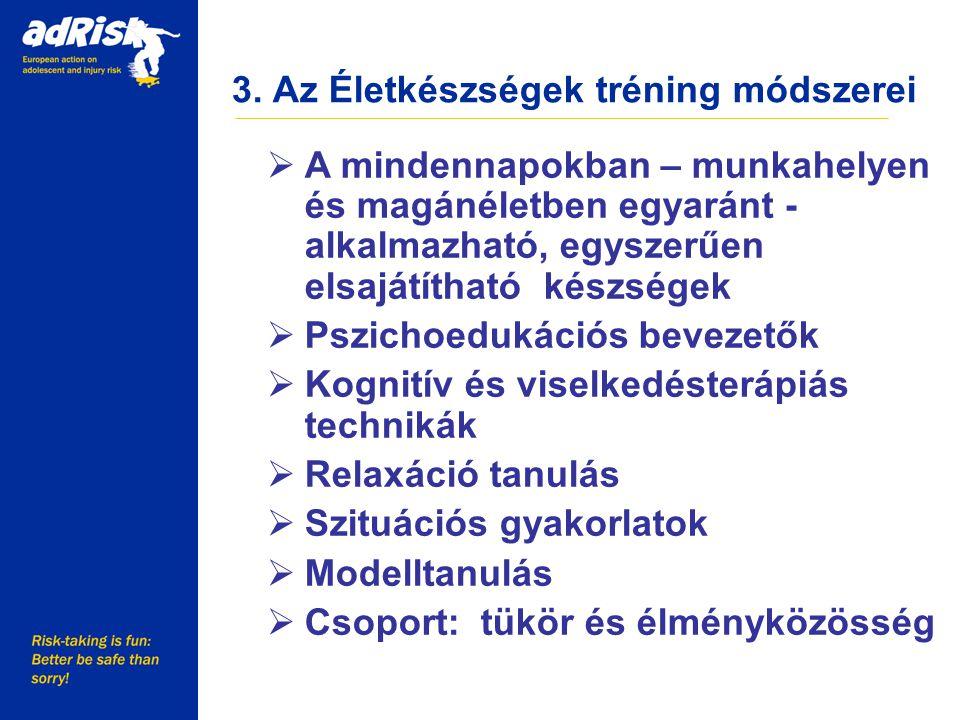 3. Az Életkészségek tréning módszerei Working together to make Europe a safer place  A mindennapokban – munkahelyen és magánéletben egyaránt - alkalm