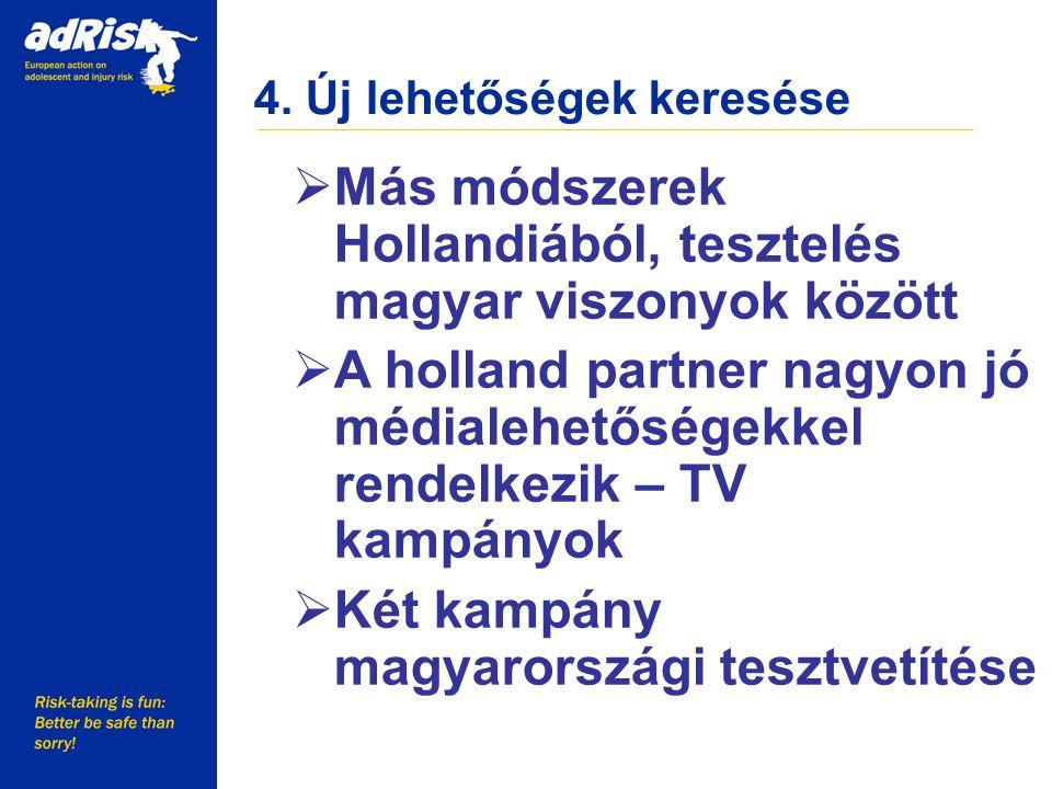 4. Új lehetőségek keresése Working together to make Europe a safer place  Más módszerek Hollandiából, tesztelés magyar viszonyok között  A holland p