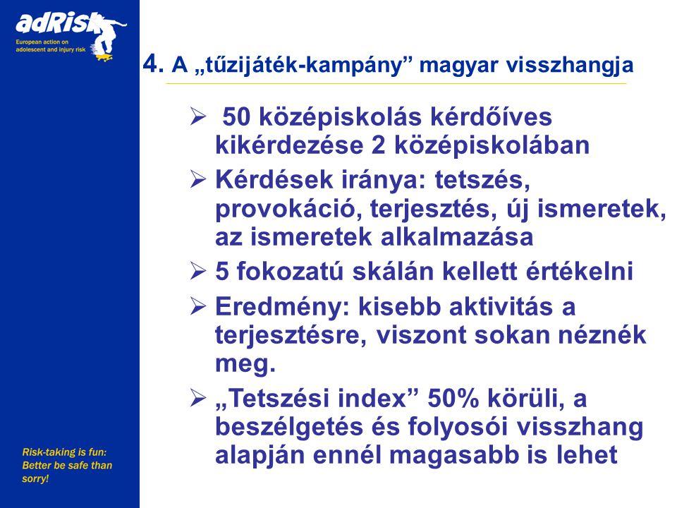 """4. A """"tűzijáték-kampány"""" magyar visszhangja Working together to make Europe a safer place  50 középiskolás kérdőíves kikérdezése 2 középiskolában  K"""
