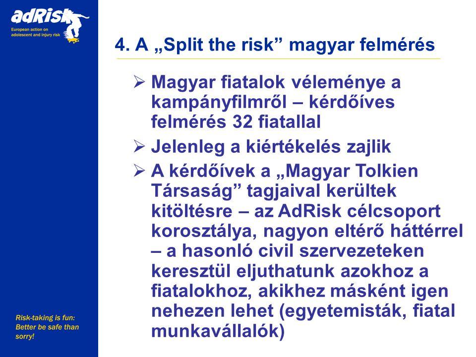 """4. A """"Split the risk"""" magyar felmérés Working together to make Europe a safer place  Magyar fiatalok véleménye a kampányfilmről – kérdőíves felmérés"""