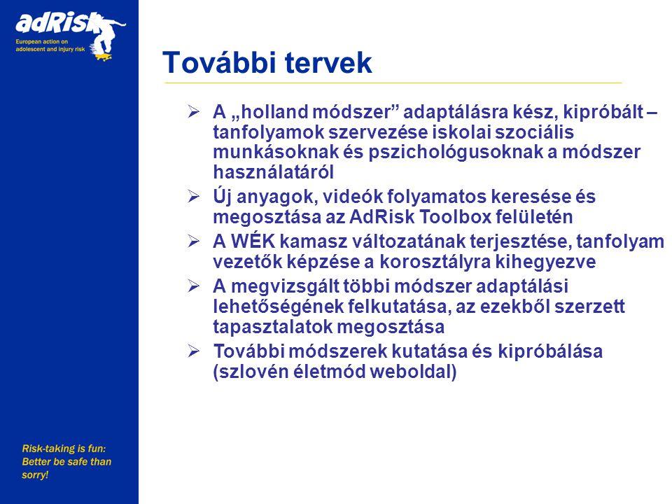 """További tervek Working together to make Europe a safer place  A """"holland módszer adaptálásra kész, kipróbált – tanfolyamok szervezése iskolai szociális munkásoknak és pszichológusoknak a módszer használatáról  Új anyagok, videók folyamatos keresése és megosztása az AdRisk Toolbox felületén  A WÉK kamasz változatának terjesztése, tanfolyam vezetők képzése a korosztályra kihegyezve  A megvizsgált többi módszer adaptálási lehetőségének felkutatása, az ezekből szerzett tapasztalatok megosztása  További módszerek kutatása és kipróbálása (szlovén életmód weboldal)"""