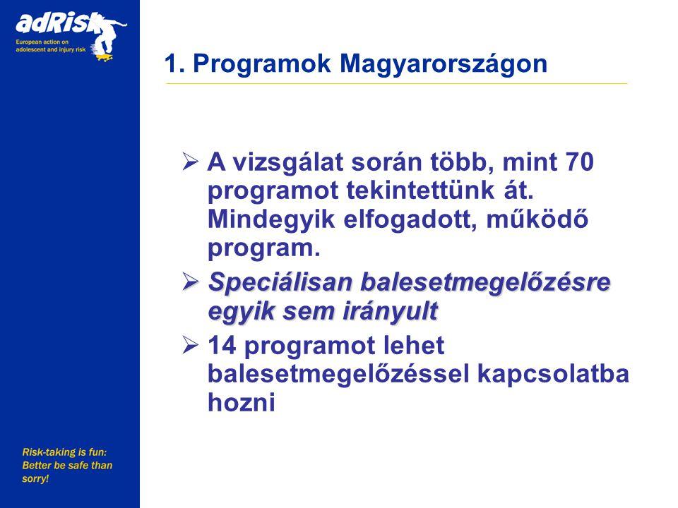 1. Programok Magyarországon Working together to make Europe a safer place  A vizsgálat során több, mint 70 programot tekintettünk át. Mindegyik elfog