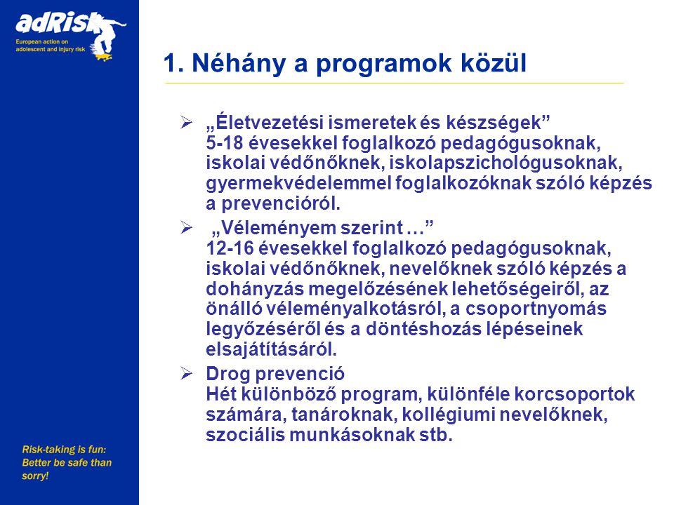 """1. Néhány a programok közül Working together to make Europe a safer place  """"Életvezetési ismeretek és készségek"""" 5-18 évesekkel foglalkozó pedagóguso"""