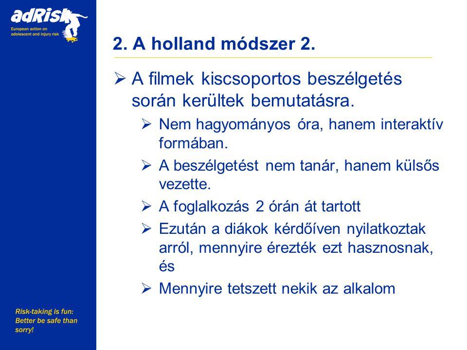 2. A holland módszer 2.  A filmek kiscsoportos beszélgetés során kerültek bemutatásra.