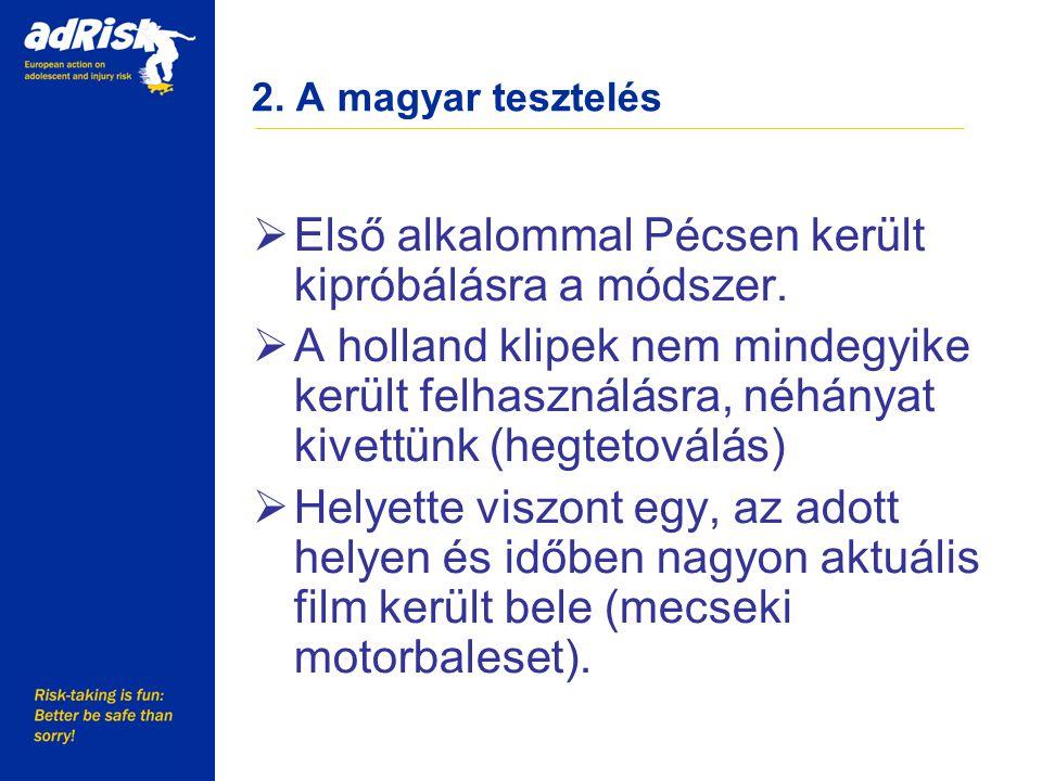 2. A magyar tesztelés  Első alkalommal Pécsen került kipróbálásra a módszer.