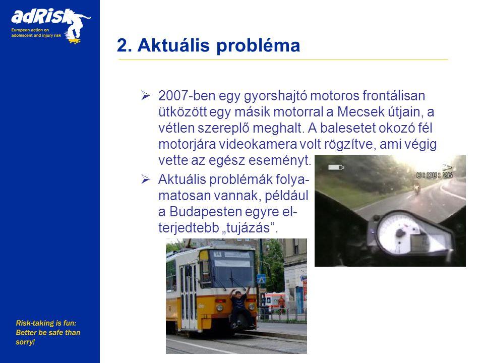 2. Aktuális probléma Working together to make Europe a safer place  2007-ben egy gyorshajtó motoros frontálisan ütközött egy másik motorral a Mecsek