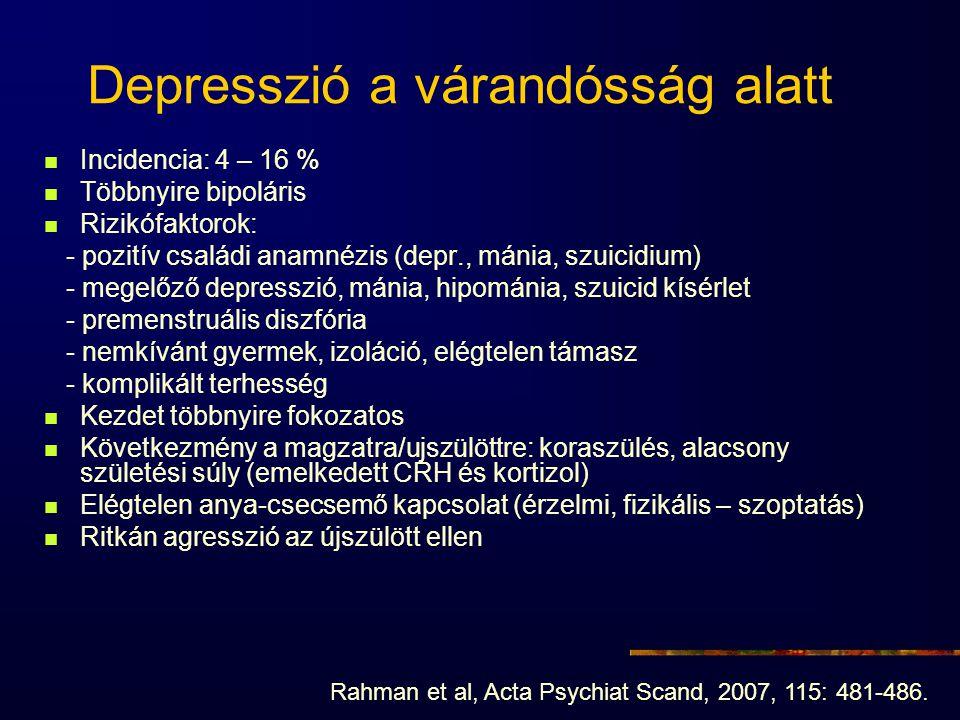 Depresszió a várandósság alatt Incidencia: 4 – 16 % Többnyire bipoláris Rizikófaktorok: - pozitív családi anamnézis (depr., mánia, szuicidium) - megel