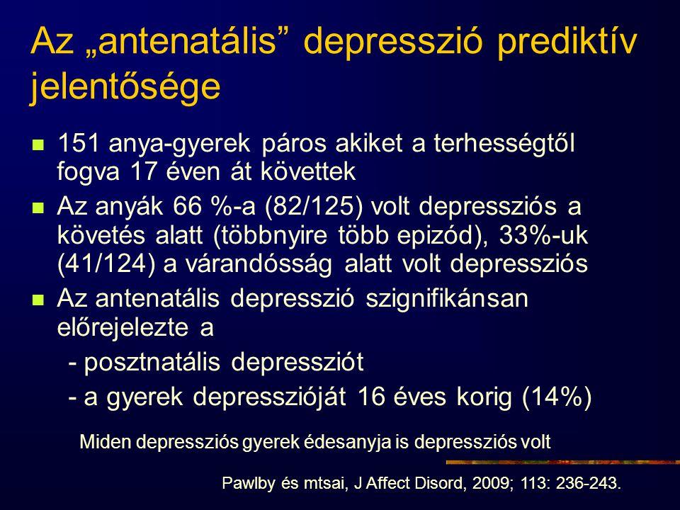 """Az """"antenatális"""" depresszió prediktív jelentősége 151 anya-gyerek páros akiket a terhességtől fogva 17 éven át követtek Az anyák 66 %-a (82/125) volt"""