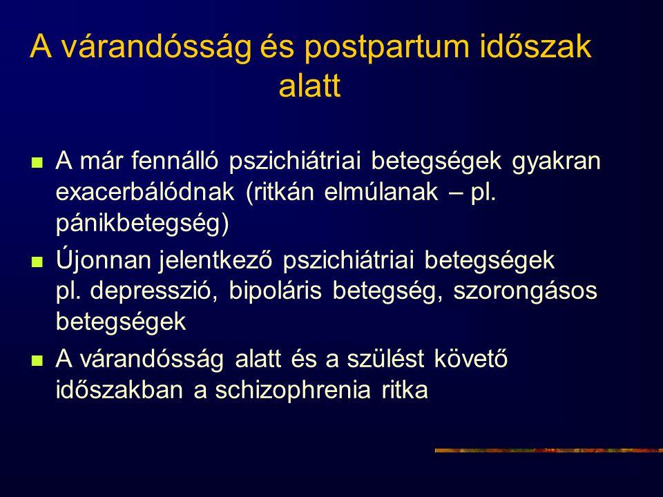 A várandósság és postpartum időszak alatt A már fennálló pszichiátriai betegségek gyakran exacerbálódnak (ritkán elmúlanak – pl. pánikbetegség) Újonna