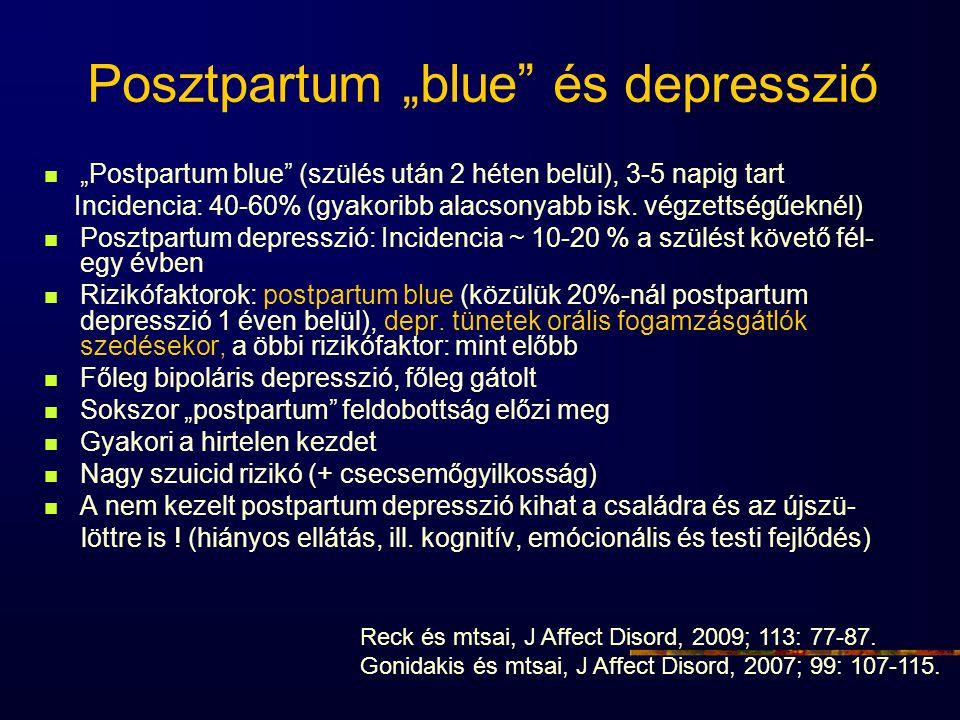 """Posztpartum """"blue"""" és depresszió """"Postpartum blue"""" (szülés után 2 héten belül), 3-5 napig tart Incidencia: 40-60% (gyakoribb alacsonyabb isk. végzetts"""