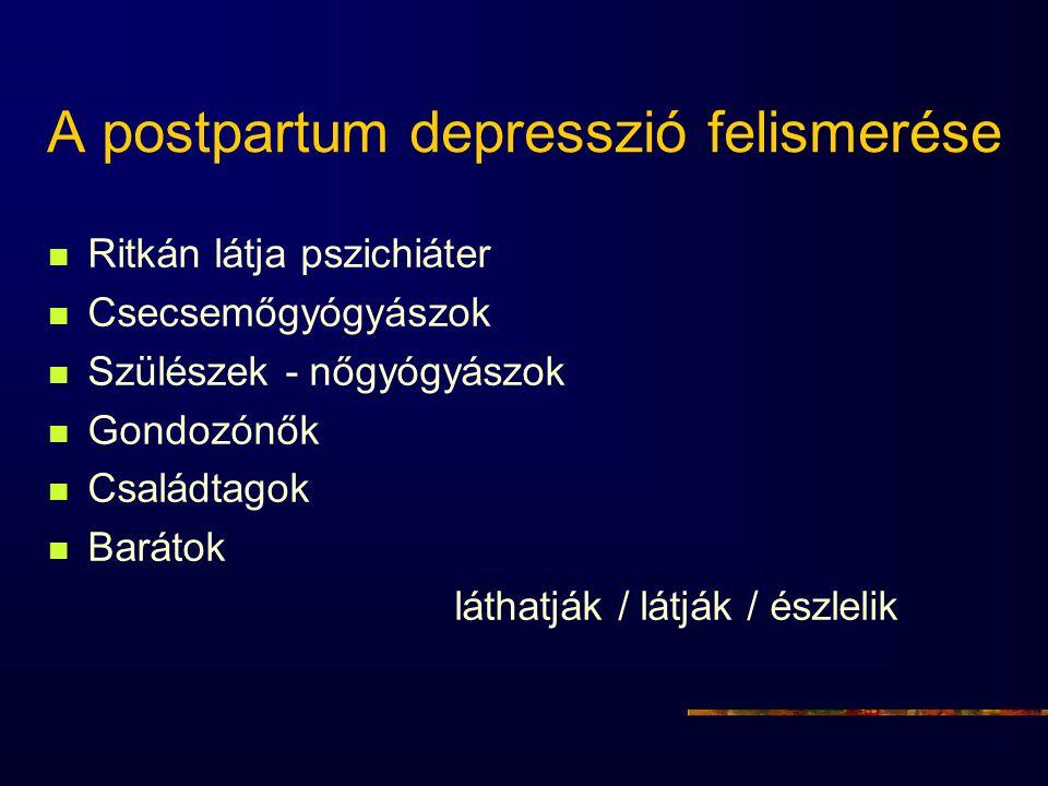 A postpartum depresszió felismerése Ritkán látja pszichiáter Csecsemőgyógyászok Szülészek - nőgyógyászok Gondozónők Családtagok Barátok láthatják / lá