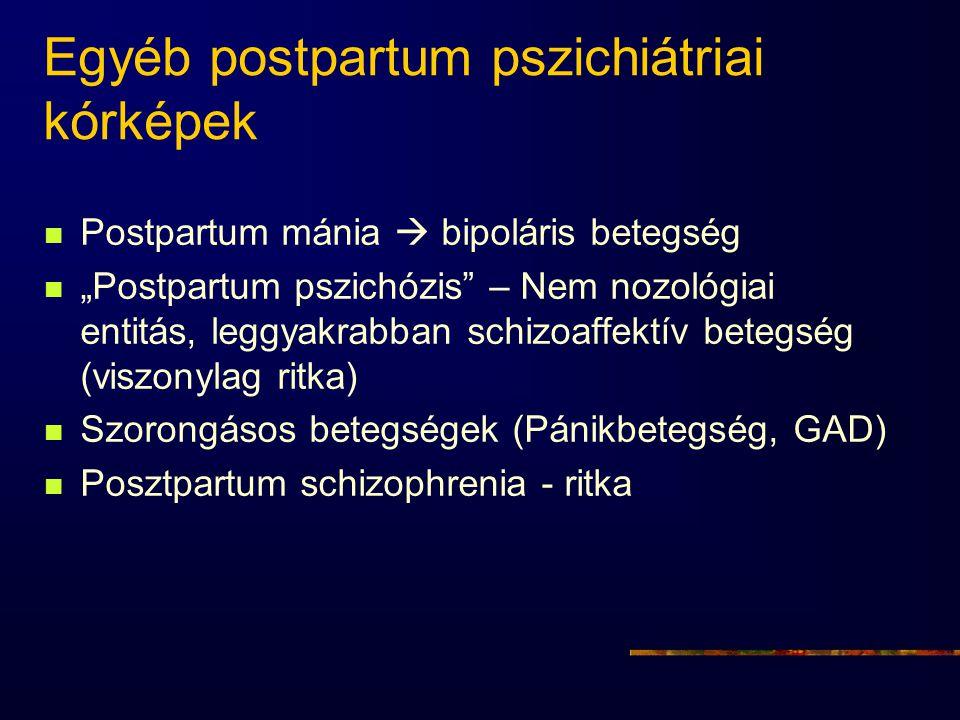 """Egyéb postpartum pszichiátriai kórképek Postpartum mánia  bipoláris betegség """"Postpartum pszichózis"""" – Nem nozológiai entitás, leggyakrabban schizoaf"""