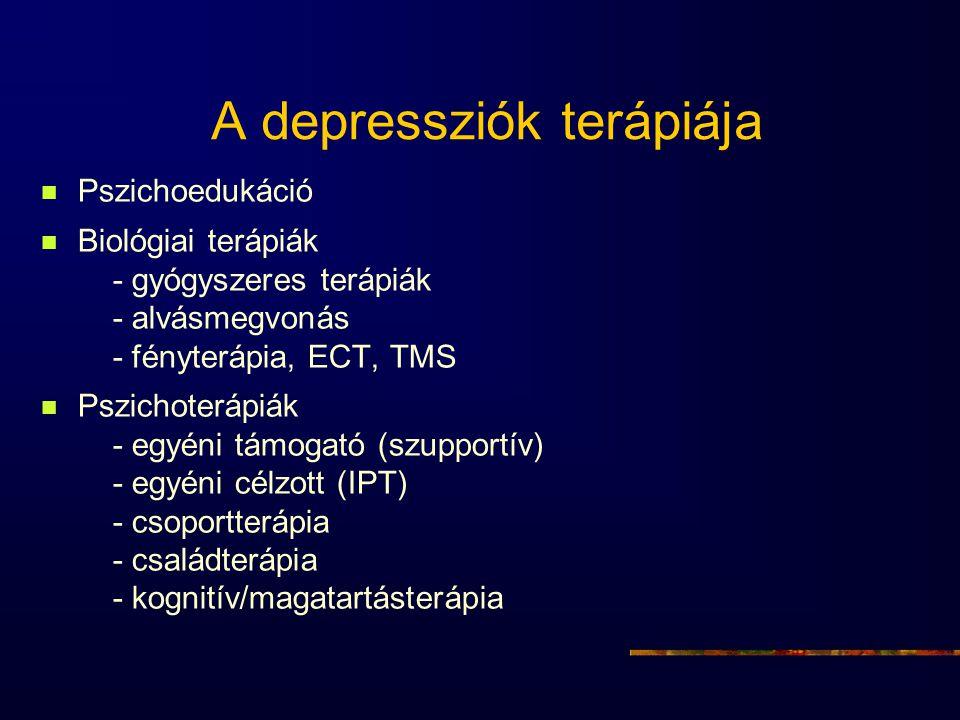 A depressziók terápiája Pszichoedukáció Biológiai terápiák - gyógyszeres terápiák - alvásmegvonás - fényterápia, ECT, TMS Pszichoterápiák - egyéni tám