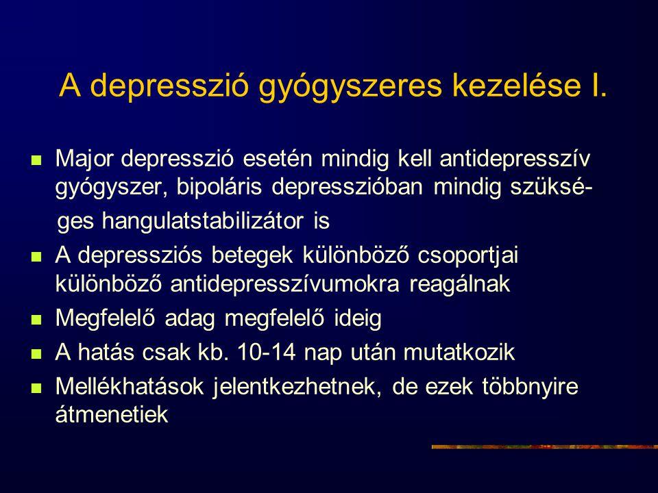 A depresszió gyógyszeres kezelése I. Major depresszió esetén mindig kell antidepresszív gyógyszer, bipoláris depresszióban mindig szüksé- ges hangulat