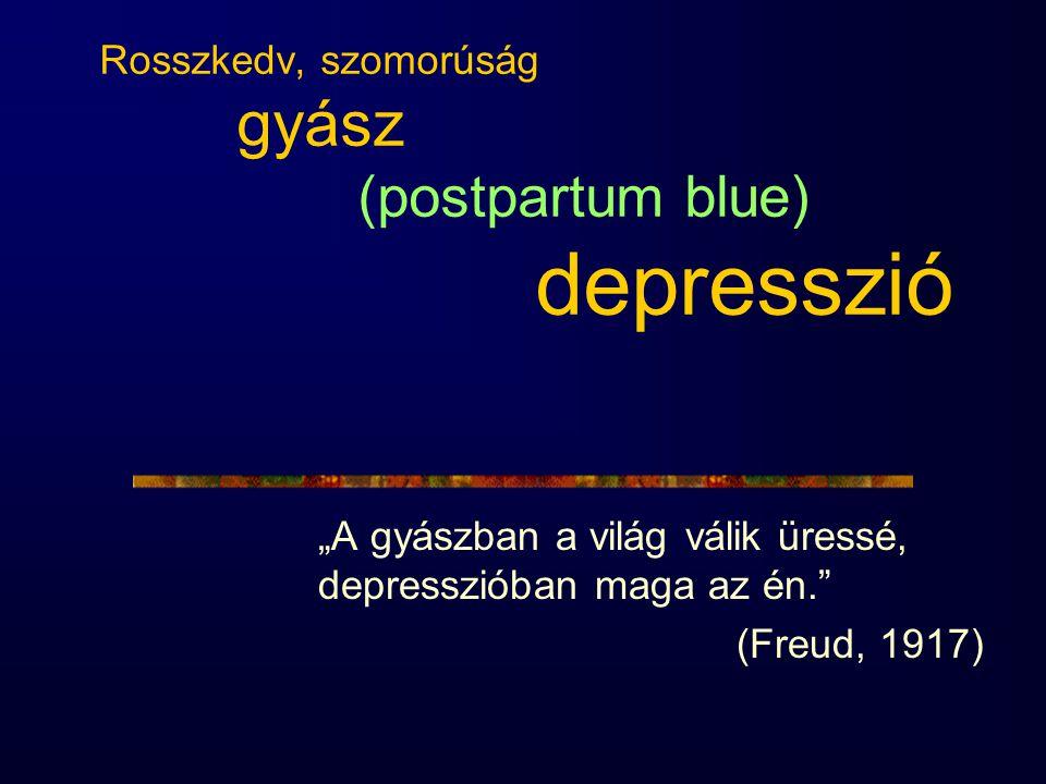 """Rosszkedv, szomorúság gyász (postpartum blue) depresszió """"A gyászban a világ válik üressé, depresszióban maga az én."""" (Freud, 1917)"""