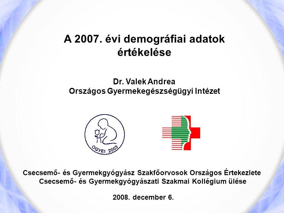 A 2007. évi demográfiai adatok értékelése Dr. Valek Andrea Országos Gyermekegészségügyi Intézet Csecsemő- és Gyermekgyógyász Szakfőorvosok Országos Ér