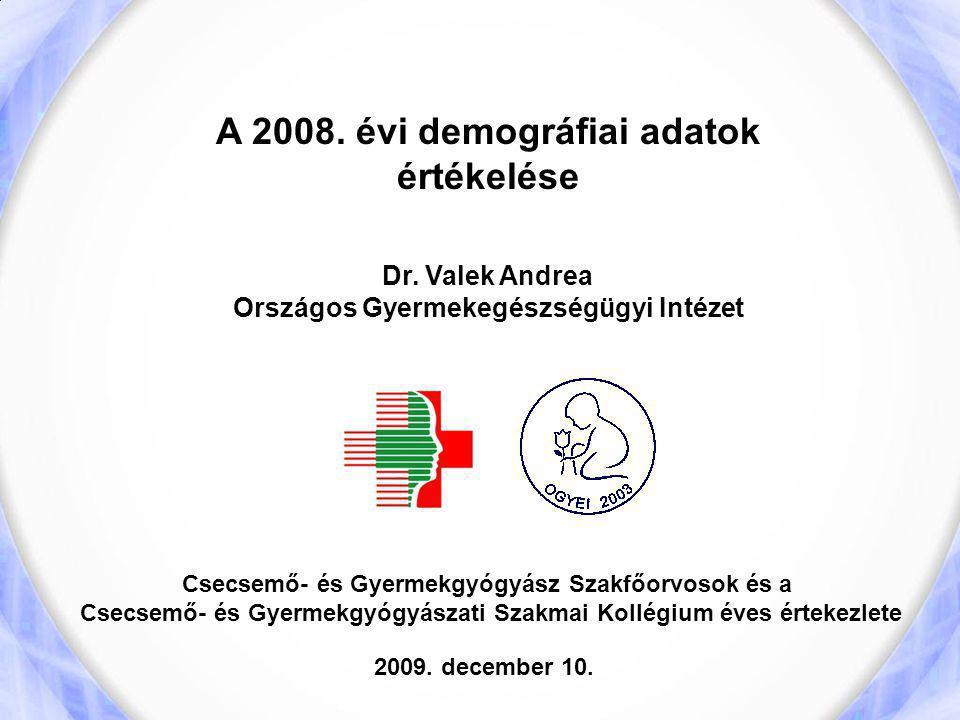 A 2008. évi demográfiai adatok értékelése Dr. Valek Andrea Országos Gyermekegészségügyi Intézet Csecsemő- és Gyermekgyógyász Szakfőorvosok és a Csecse