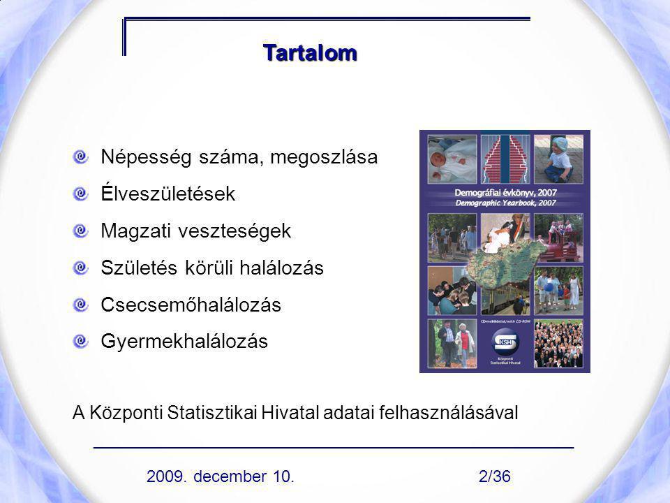 Demográfiai adatok, 2008 A népesség száma 2008.január 1-jén: 10 045 401 fő A népesség száma 2009.