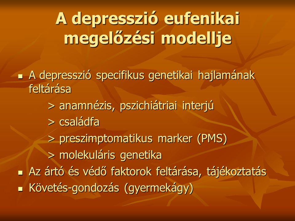 A depresszió eufenikai megelőzési modellje A depresszió specifikus genetikai hajlamának feltárása A depresszió specifikus genetikai hajlamának feltárá