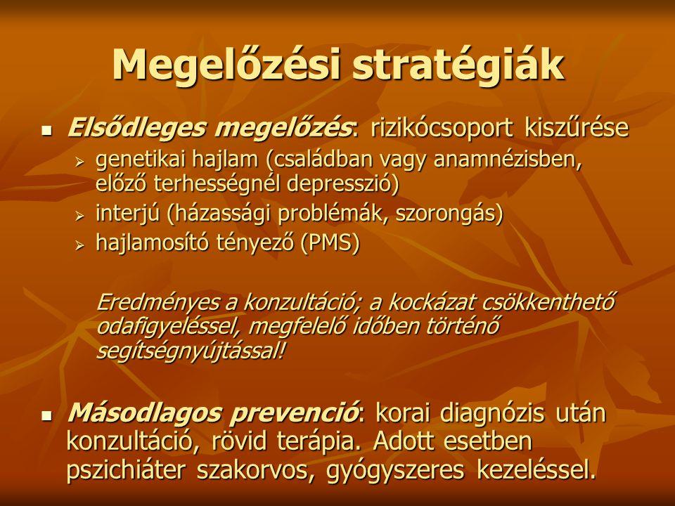 Megelőzési stratégiák Elsődleges megelőzés: rizikócsoport kiszűrése Elsődleges megelőzés: rizikócsoport kiszűrése  genetikai hajlam (családban vagy a