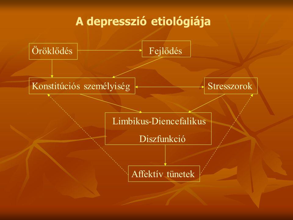 A depresszió etiológiája ÖröklődésFejlődés Konstitúciós személyiségStresszorok Limbikus-Diencefalikus Diszfunkció Affektív tünetek