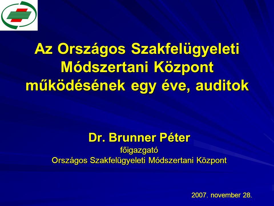Az Országos Szakfelügyeleti Módszertani Központ működésének egy éve, auditok Dr. Brunner Péter főigazgató Országos Szakfelügyeleti Módszertani Központ