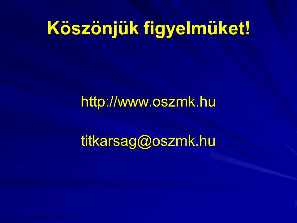 Köszönjük figyelmüket! http://www.oszmk.hutitkarsag@oszmk.hu