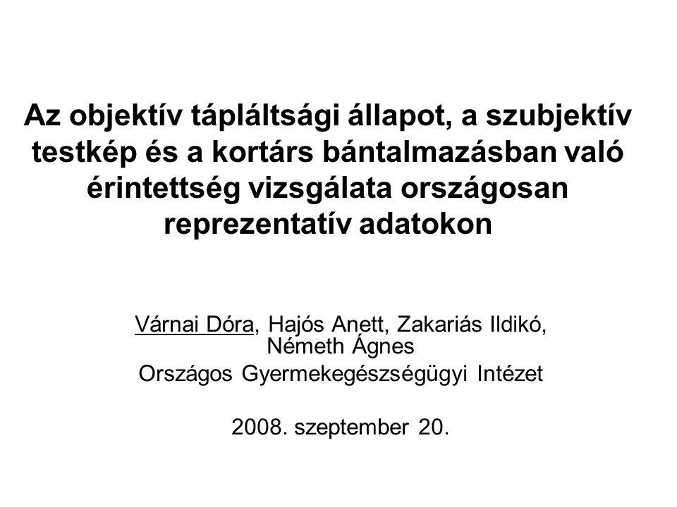 Az objektív tápláltsági állapot, a szubjektív testkép és a kortárs bántalmazásban való érintettség vizsgálata országosan reprezentatív adatokon Várnai