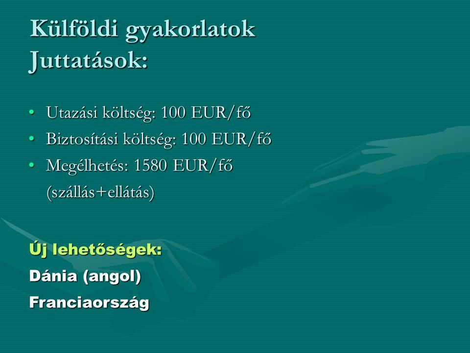 Utazási költség: 100 EUR/főUtazási költség: 100 EUR/fő Biztosítási költség: 100 EUR/főBiztosítási költség: 100 EUR/fő Megélhetés: 1580 EUR/főMegélhetés: 1580 EUR/fő(szállás+ellátás) Külföldi gyakorlatok Juttatások: Új lehetőségek: Dánia (angol) Franciaország