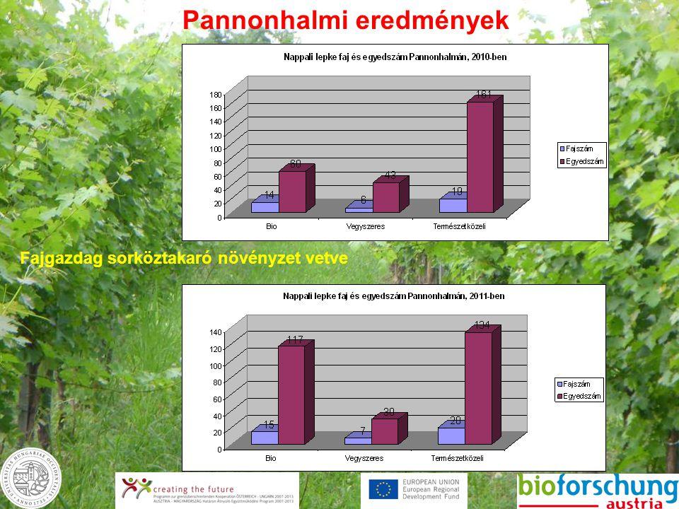 Pannonhalmi eredmények Fajgazdag sorköztakaró növényzet vetve