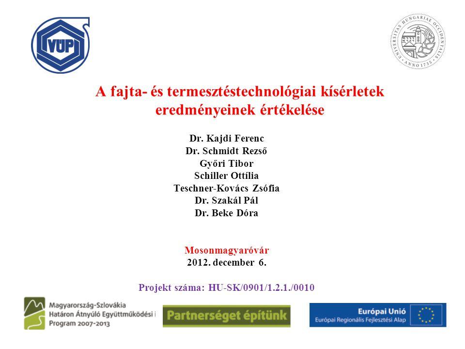 A fajta- és termesztéstechnológiai kísérletek eredményeinek értékelése Dr. Kajdi Ferenc Dr. Schmidt Rezső Győri Tibor Schiller Ottília Teschner-Kovács