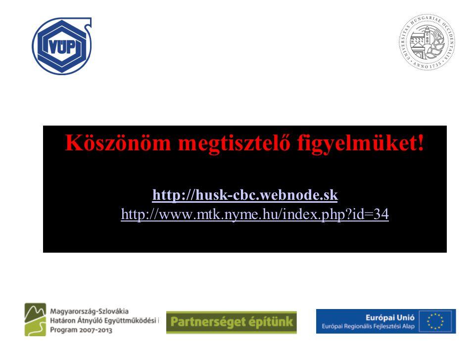 Köszönöm megtisztelő figyelmüket! http://husk-cbc.webnode.sk Ki http://www.mtk.nyme.hu/index.php?id=34 http://husk-cbc.webnode.skhttp://www.mtk.nyme.h