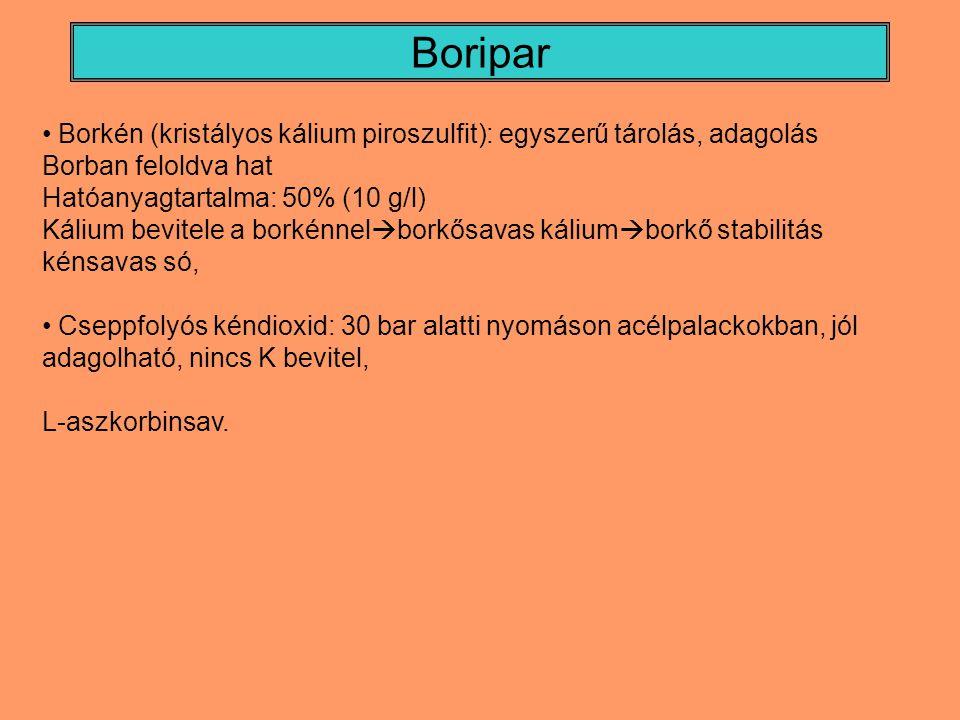 Boripar Borkén (kristályos kálium piroszulfit): egyszerű tárolás, adagolás Borban feloldva hat Hatóanyagtartalma: 50% (10 g/l) Kálium bevitele a borké