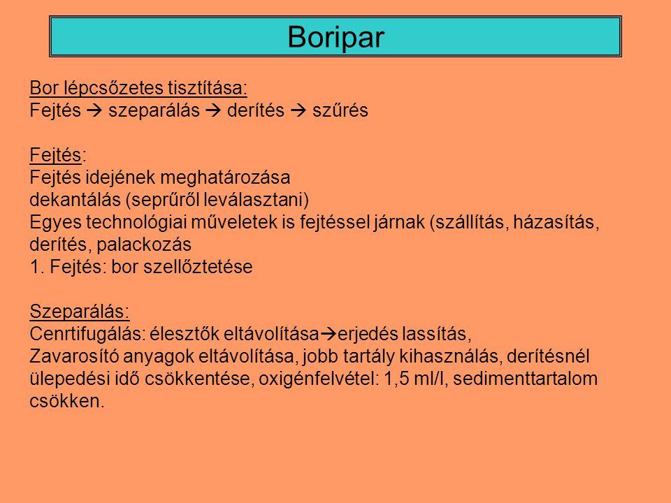 Boripar Bor lépcsőzetes tisztítása: Fejtés  szeparálás  derítés  szűrés Fejtés: Fejtés idejének meghatározása dekantálás (seprűről leválasztani) Egyes technológiai műveletek is fejtéssel járnak (szállítás, házasítás, derítés, palackozás 1.