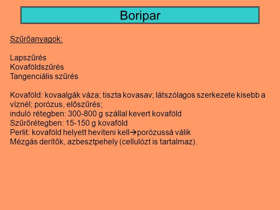 Boripar Szűrőanyagok: Lapszűrés Kovaföldszűrés Tangenciális szűrés Kovaföld: kovaalgák váza; tiszta kovasav; látszólagos szerkezete kisebb a víznél; p