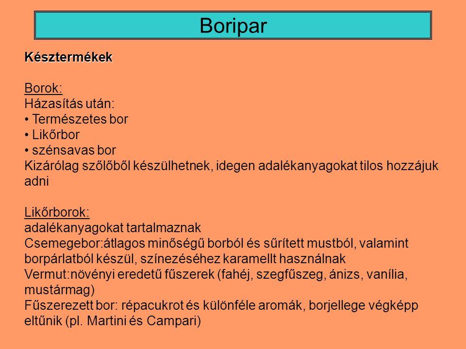 Boripar Késztermékek Borok: Házasítás után: Természetes bor Likőrbor szénsavas bor Kizárólag szőlőből készülhetnek, idegen adalékanyagokat tilos hozzá