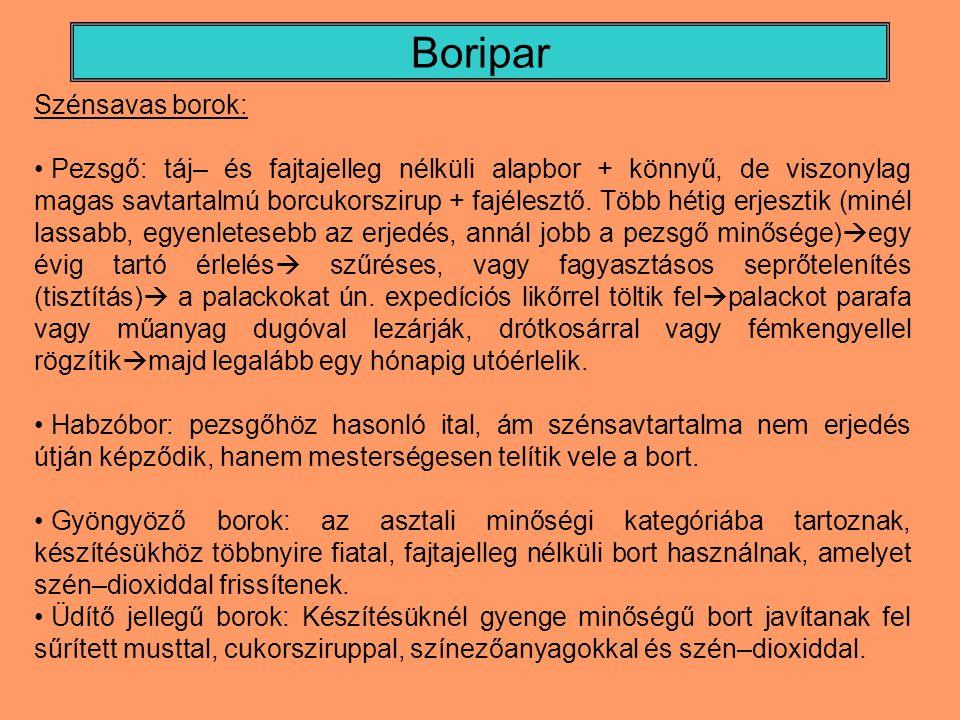 Boripar Szénsavas borok: Pezsgő: táj– és fajtajelleg nélküli alapbor + könnyű, de viszonylag magas savtartalmú borcukorszirup + fajélesztő. Több hétig