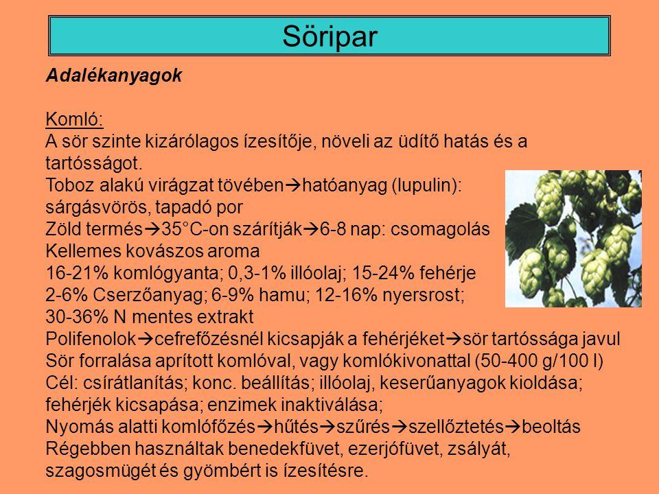 Söripar Adalékanyagok Komló: A sör szinte kizárólagos ízesítője, növeli az üdítő hatás és a tartósságot.