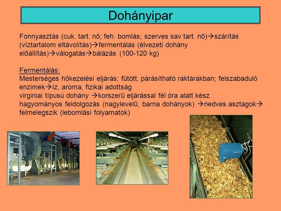Dohányipar Fonnyasztás (cuk. tart. nő; feh. bomlás; szerves sav tart. nő)  szárítás (víztartalom eltávolítás)  fermentálás (élvezeti dohány előállít