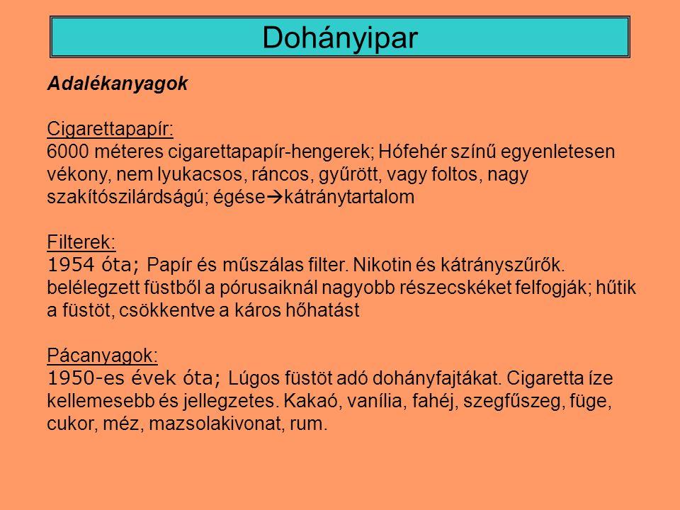 Dohányipar Adalékanyagok Cigarettapapír: 6000 méteres cigarettapapír-hengerek; Hófehér színű egyenletesen vékony, nem lyukacsos, ráncos, gyűrött, vagy