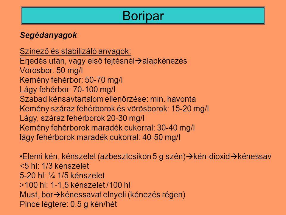Boripar Borkén (kristályos kálium piroszulfit): egyszerű tárolás, adagolás Borban feloldva hat Hatóanyagtartalma: 50% (10 g/l) Kálium bevitele a borkénnel  borkősavas kálium  borkő stabilitás kénsavas só, Cseppfolyós kéndioxid: 30 bar alatti nyomáson acélpalackokban, jól adagolható, nincs K bevitel, L-aszkorbinsav.