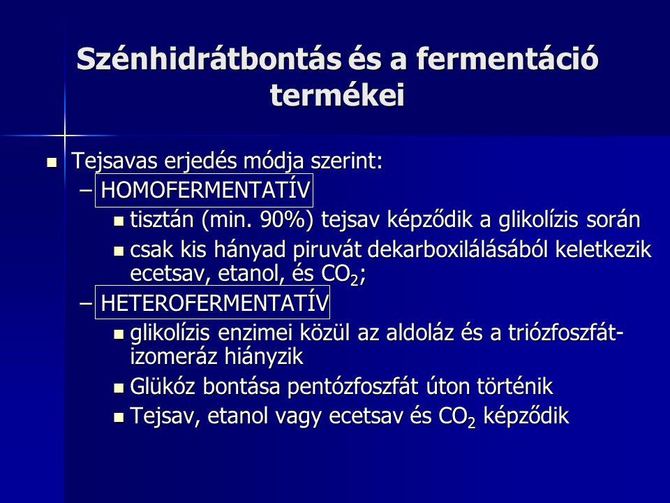 Szénhidrátbontás és a fermentáció termékei Tejsavas erjedés módja szerint: Tejsavas erjedés módja szerint: –HOMOFERMENTATÍV tisztán (min. 90%) tejsav