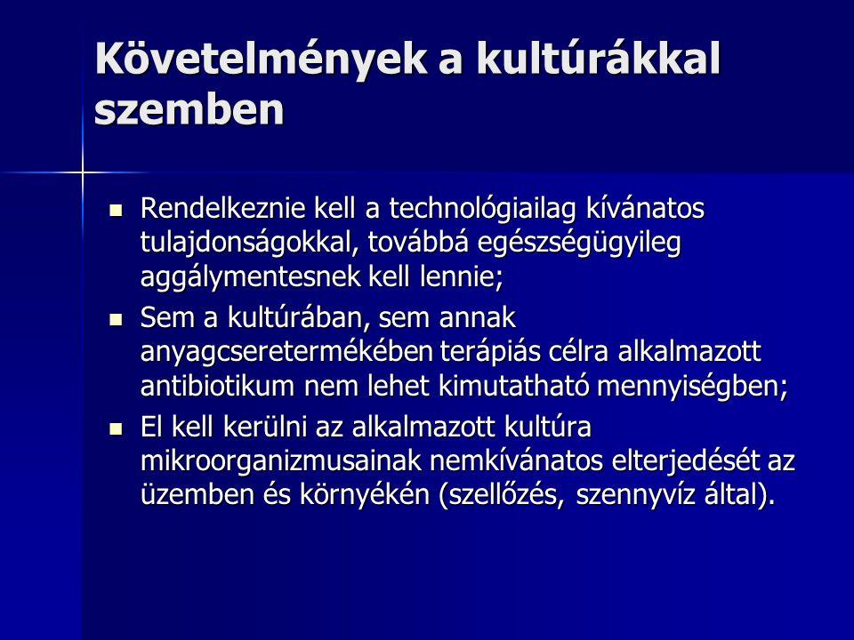 Követelmények a kultúrákkal szemben Rendelkeznie kell a technológiailag kívánatos tulajdonságokkal, továbbá egészségügyileg aggálymentesnek kell lenni