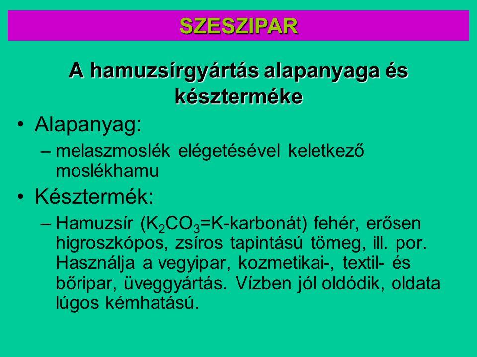 A hamuzsírgyártás alapanyaga és készterméke Alapanyag: –melaszmoslék elégetésével keletkező moslékhamu Késztermék: –Hamuzsír (K 2 CO 3 =K-karbonát) fe