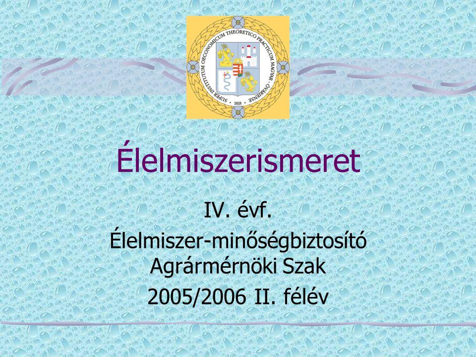 Élelmiszerismeret IV. évf. Élelmiszer-minőségbiztosító Agrármérnöki Szak 2005/2006 II. félév