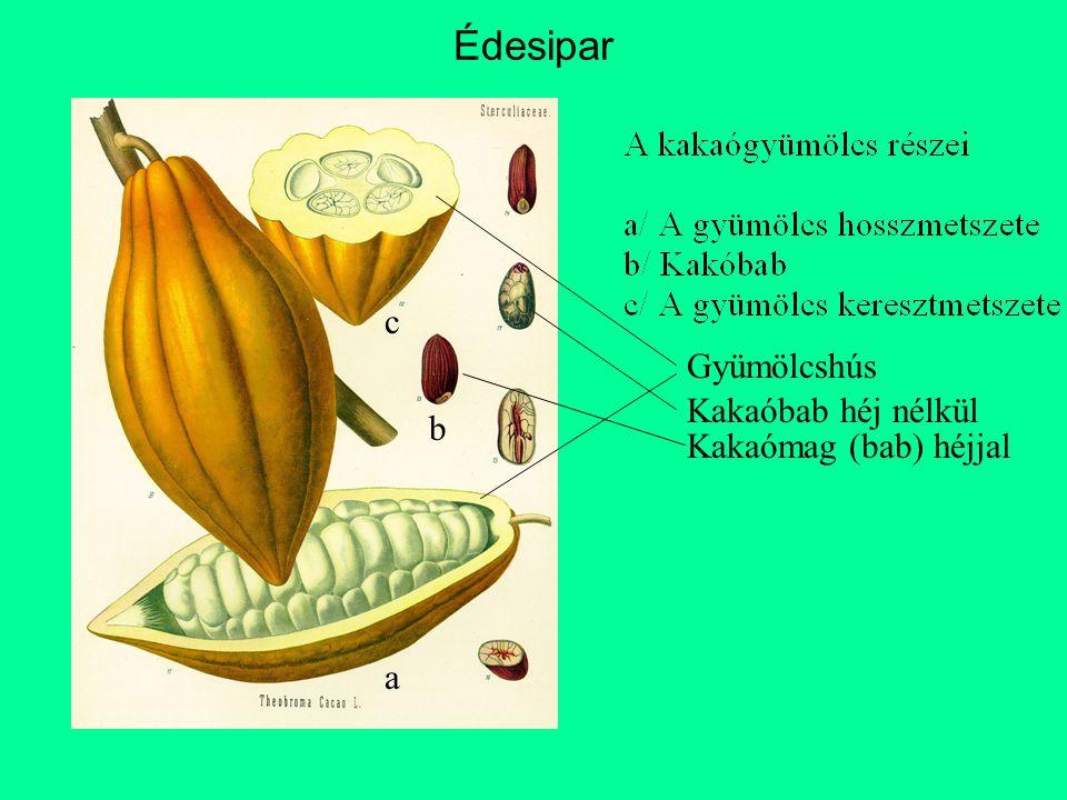 a b c Gyümölcshús Kakaómag (bab) héjjal Kakaóbab héj nélkül