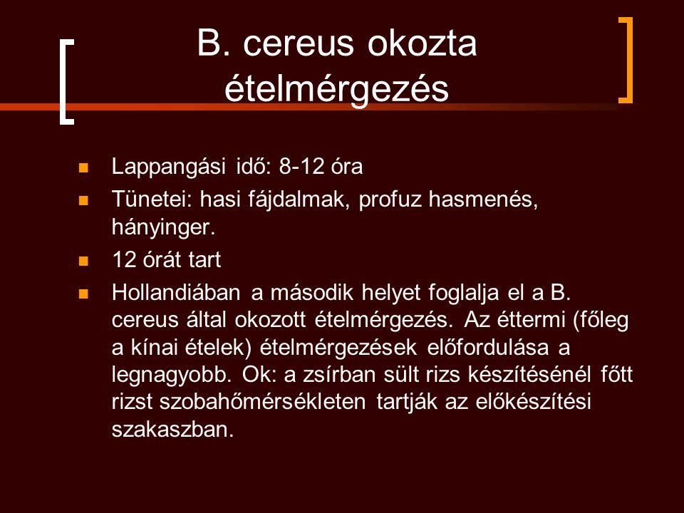 B. cereus okozta ételmérgezés Lappangási idő: 8-12 óra Tünetei: hasi fájdalmak, profuz hasmenés, hányinger. 12 órát tart Hollandiában a második helyet