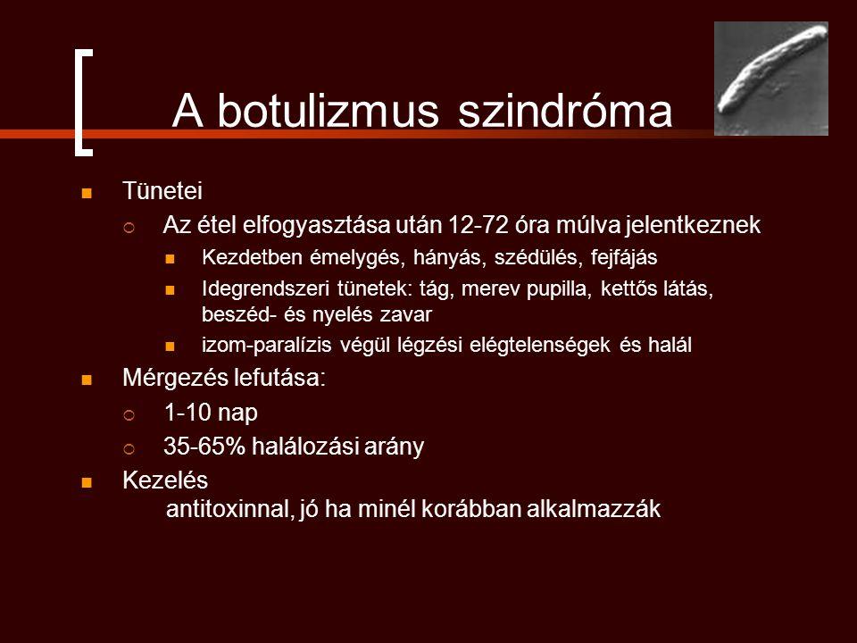 A botulizmus szindróma Tünetei  Az étel elfogyasztása után 12-72 óra múlva jelentkeznek Kezdetben émelygés, hányás, szédülés, fejfájás Idegrendszeri tünetek: tág, merev pupilla, kettős látás, beszéd- és nyelés zavar izom-paralízis végül légzési elégtelenségek és halál Mérgezés lefutása:  1-10 nap  35-65% halálozási arány Kezelés antitoxinnal, jó ha minél korábban alkalmazzák