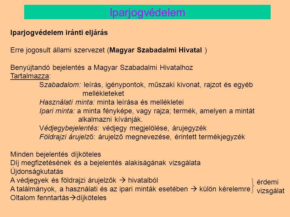 Társintézmények és együttműködő partnerek Gazdasági és Közlekedési Minisztérium Igazságügyi Minisztérium Nemzeti és Kulturális Örökség Minisztériuma Oktatási Minisztérium Kutatás-fejlesztési Pályázati és Kutatáshasznosítási Iroda (KPI) Magyar Államkincstár Állami Számvevőszék Miniszterelnökség Közbeszerzési és Gazdasági Igazgatósága Fővárosi Bíróság Vám- és Pénzügyőrség Országos Parancsnoksága Országos Mezőgazdasági Minősítő Intézet Mezőgazdasági és Ipari Mikroorganizmusok Nemzeti Gyűjteménye Az Európai Unió Magyarországi Innovációközvetítő Központja Feltalálók Egyesületeinek Nemzetközi Szervezete (IFIA) Fővárosi Újítók és Feltalálók Klubja INNOSTART Nemzeti Üzleti és Innovációs Központ Magyar Feltalálók Egyesülete Magyar Innovációs Szövetség Magyar Iparjogvédelmi és Szerzői Jogi Egyesület Nemzetközi Iparjogvédelmi Egyesület (AIPPI) Európai Iparjogvédelmi Képviselők Uniója - Magyar Csoport Műszaki és Természettudományi Egyesületek Szövetsége (MTESZ) Iparjogvédelem