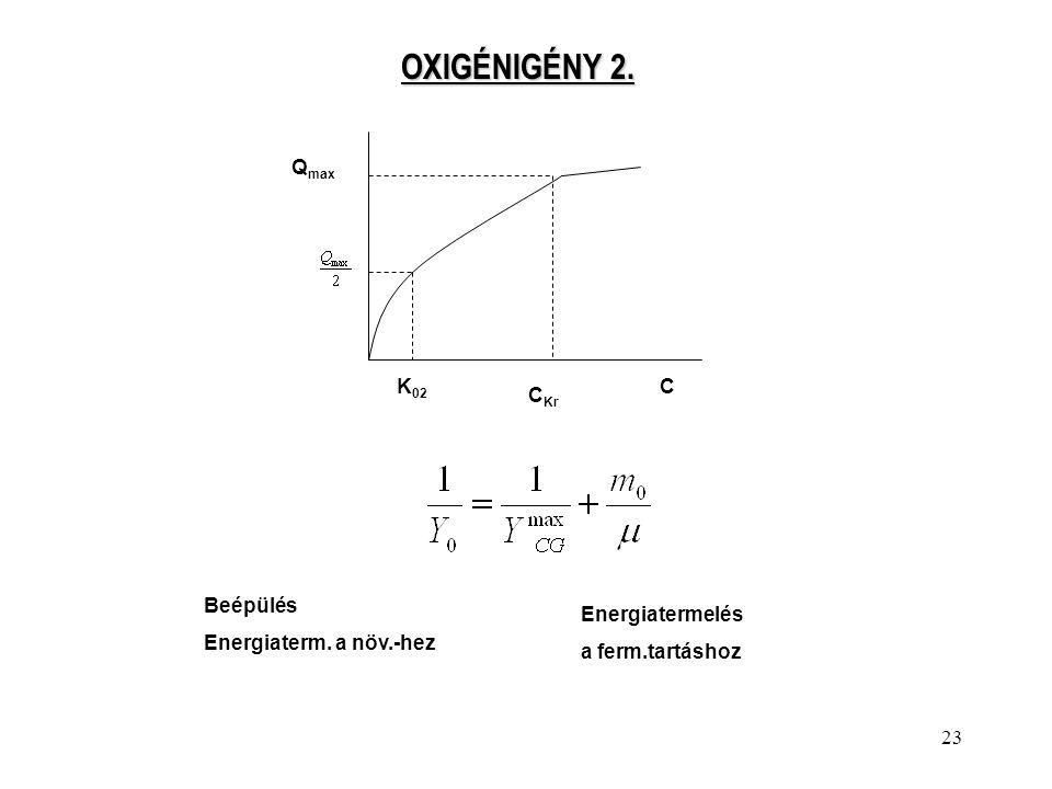 23 OXIGÉNIGÉNY 2. Q max K 02 C Kr C Beépülés Energiaterm. a növ.-hez Energiatermelés a ferm.tartáshoz